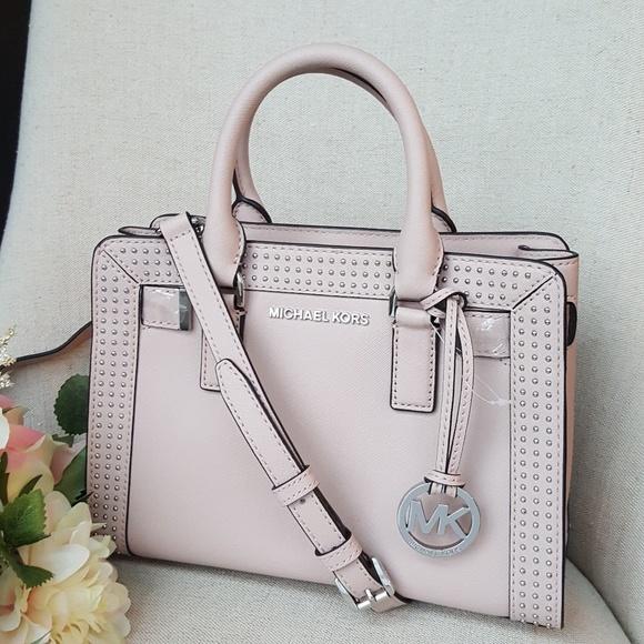 b0eb69ee81 Michael Kors Dillon stud leather satchel bag pink